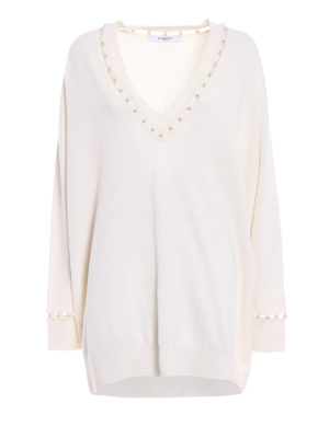 Givenchy: v necks - Cashmere blend pearl over sweater