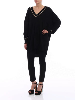 Givenchy: v necks online - Cashmere blend pearl over jumper