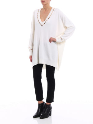 Givenchy: v necks online - Cashmere blend pearl over sweater