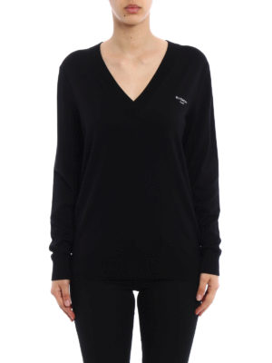 Givenchy: v necks online - Wool and silk blend sweater