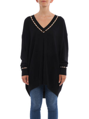 Givenchy: v necks online - Wool over sweater with pearls