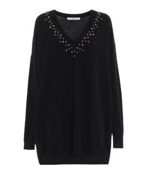 GIVENCHY: maglia collo a v - Pull oversize in lana e cashmere con borchie