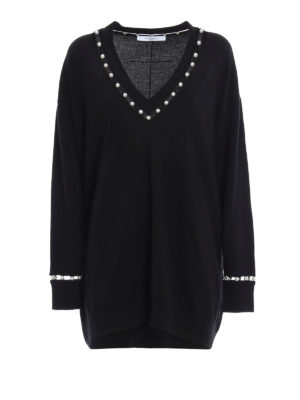 Givenchy: v necks - Wool over sweater with pearls