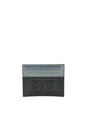 GIVENCHY: portafogli - Portacarte Emblem nero e argento