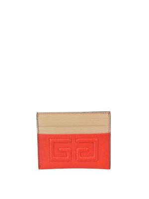 GIVENCHY: portafogli - Portacarte Emblem rosso e beige