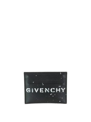 GIVENCHY: portafogli - Porta carte logo in pelle a sei scomparti
