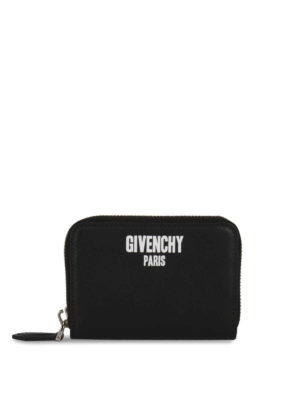 Givenchy: wallets & purses - Logo print leather zipped wallet