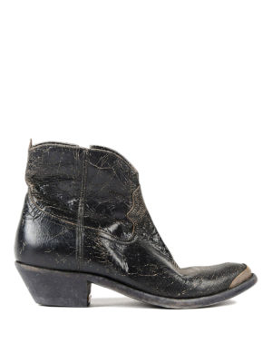 Golden Goose: ankle boots - Young crackle leather booties