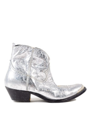 Golden Goose: ankle boots - Young crackled leather ankle boots
