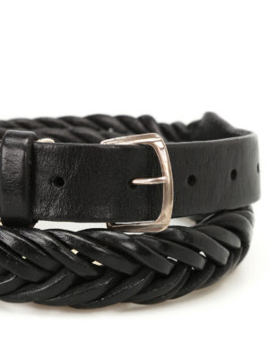 Golden Goose: belts online - Tube black woven leather belt