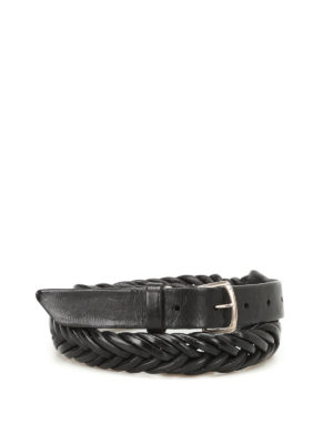 Golden Goose: belts - Tube black woven leather belt