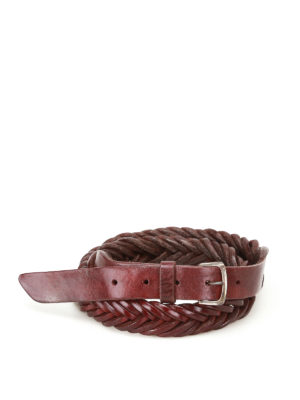 Golden Goose: belts - Tube woven leather belt