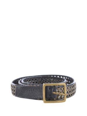 Golden Goose: belts - Vintage eyelets black leather belt