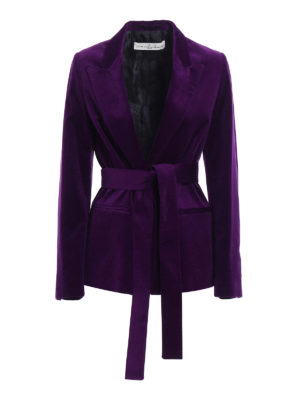 Golden Goose: blazers - Ester belted cotton velvet blazer