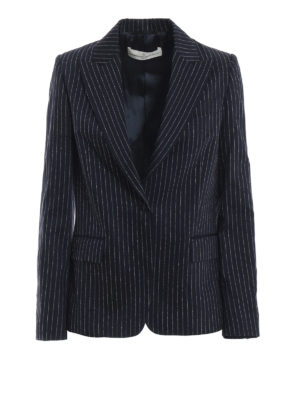 GOLDEN GOOSE: giacche blazer - Blazer Venice in lana e seta gessato