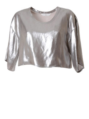 Golden Goose: blouses - Short laminated fabric blouse
