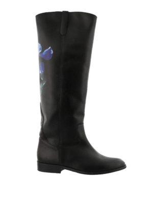 GOLDEN GOOSE: stivali - Stivali Charlye in pelle con fiore
