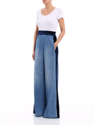 Golden Goose: casual trousers online - Sophie double denim flared trousers
