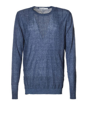 Golden Goose: crew necks - Clay striped linen sweater