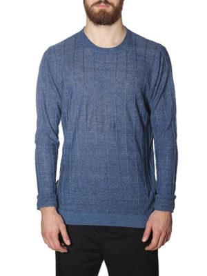 Golden Goose: crew necks online - Clay striped linen sweater