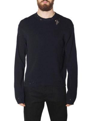 Golden Goose: crew necks online - Ronnie destroyed cotton sweater