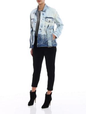 Golden Goose: denim jacket online - Viola denim long belted jacket