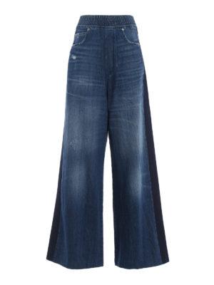 GOLDEN GOOSE: jeans a zampa - Pantaloni palazzo Sophie in denim di cotone