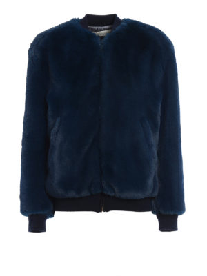 Golden Goose: Fur & Shearling Coats - Amanda fake fur bomber jacket