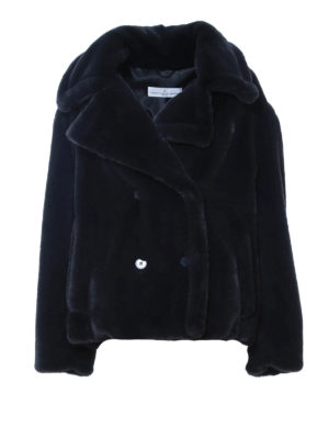 Golden Goose: Fur & Shearling Coats - Faux fur double-breasted short coat