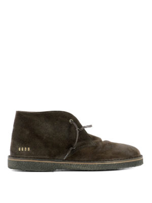 Golden Goose: lace-ups shoes - Brown suede City desert boots