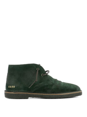 Golden Goose: lace-ups shoes - Green suede City desert boots