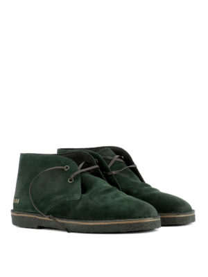 Golden Goose: lace-ups shoes online - Green suede City desert boots