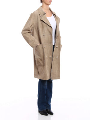 Golden Goose: leather coats online - Nives suede reversible coat