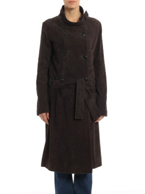 Golden Goose: leather coats online - Soft suede trench coat