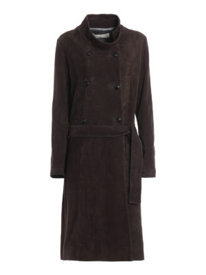 Golden Goose: leather coats - Soft suede trench coat