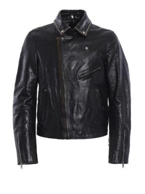 Golden Goose: leather jacket - Berry studded leather biker jacket