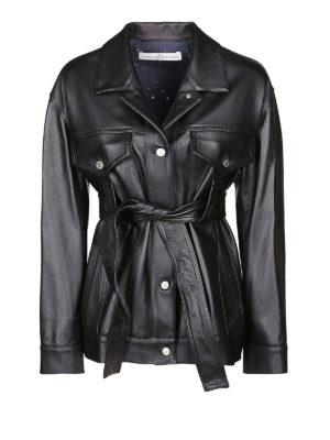 GOLDEN GOOSE: giacche in pelle - Giacca in pelle nera con cintura