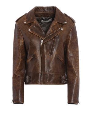 Golden Goose: leather jacket - Golden biker jacket with flowers
