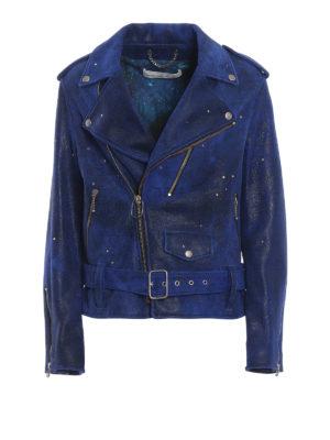 GOLDEN GOOSE: giacche in pelle - Giacca biker Golden in suede vintage blu