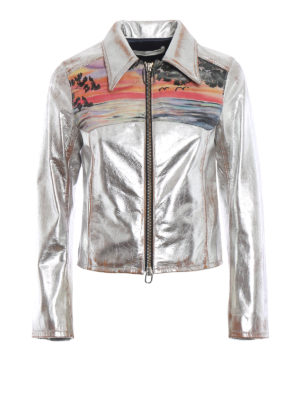 GOLDEN GOOSE: giacche in pelle - Giacca Mira in pelle argento con tramonto