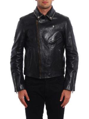 Golden Goose: leather jacket online - Berry studded leather biker jacket