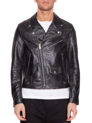 Golden Goose: leather jacket online - Chiodo Golden calf leather jacket