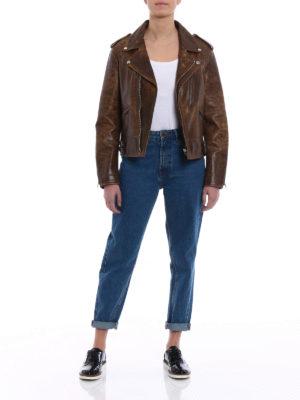 Golden Goose: leather jacket online - Golden biker jacket with flowers