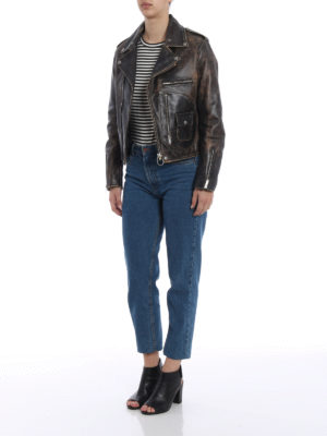 Golden Goose: leather jacket online - Pearl putto leather jacket