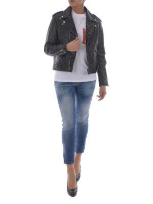 Golden Goose: leather jacket online - Vintage effect leather jacket