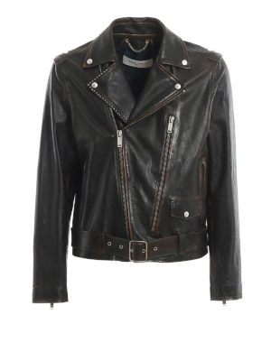GOLDEN GOOSE: leather jacket - Ryan leather biker jacket