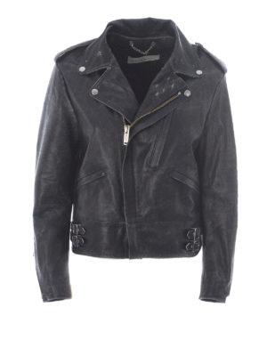 Golden Goose: leather jacket - Vintage effect leather jacket
