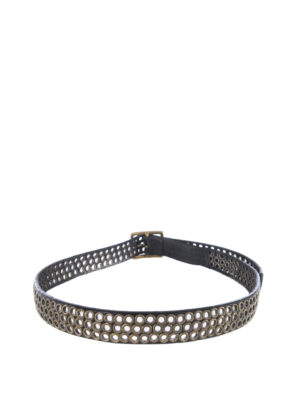 GOLDEN GOOSE: cinture online - Cintura nera con occhielli vintage