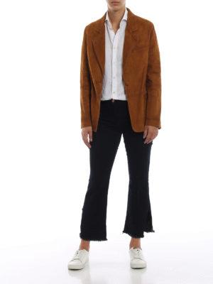 GOLDEN GOOSE: giacche in pelle online - Giacca in pelle scamosciata Ermada