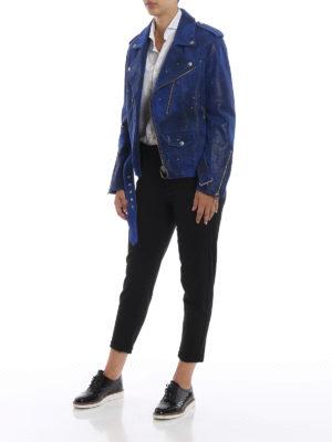 GOLDEN GOOSE: giacche in pelle online - Giacca biker Golden in suede vintage blu